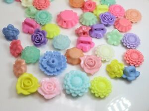 50 Mixed Pastel Color Acrylic Flower Beads Charms Assorted Flower