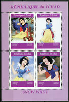 Chad 2019 MNH Snow White 4v M/S Disney Cartoons Animation Stamps