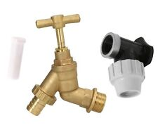 "Outdoor Garden Tap Hose Union Bib Tap 3/4"" Brass Kit with 25mm Wall Plate Elbow"