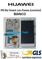 HUAWEI P8 Lite SMART BIANCO - DISPLAY LCD+TOUCH COMPLETO con FRAME - GLS 24/48 h