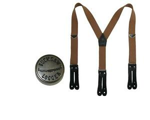 New Welch Men's Elastic Button End Double Face Suspender with Bachelor Buttons