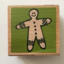 Gingerbread Man Rubber Stamp Vap Scrap Christmas Cookie Holiday Wood Mounted