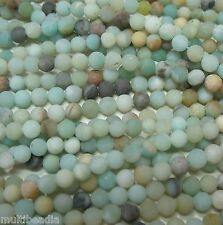 """Multi-Color Frosted Matte Blue Green Amazonite 4mm Round Spacer Beads 15"""""""