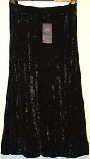 LADIES M&S COLLECTION BLACK VELOUR SKIRT STRETCH WAIST SIZE 16 L33 - BNWT