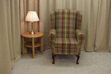 Wingback Fireside Armchair in Balmoral Heather Tartan Fabric  - NEW