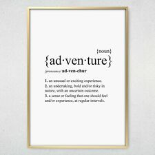 ADVENTURE Dictionary Definition Quote Print Wall Art 8x10 A4 A3 A2 A1