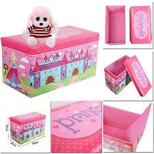 KIDS PRINCES STORAGE TOY BOX CHILDREN CHEST CLOTH BOOKS BOY GIRLS SEAT TIDY GIFT