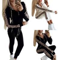Womens Casual Loungewear Hoodies Tracksuit Set Hooded Zip-Up Tops Leopard Jacket