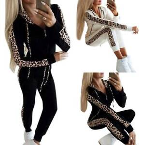 2PCS Women Loungewear Hoodie Tracksuit Hooded Zip-Up Top Leopard Print Sport Set