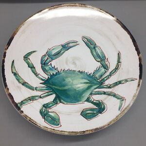 x4 TOMMY BAHAMA Melamine CRAB Appetizer Plate Set Turquoise Watercolor Beach NEW