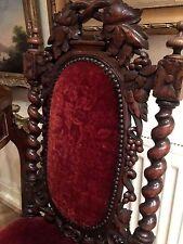 ANTIQUE THRONE CHAIR Circa 19th Century Gothic DARK OAK WOOD  Red upholstery
