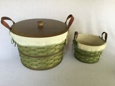 New Listing2 Longaberger 2005 Green Baskets w/wood Lid, liner & protector leather handles
