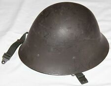 NICE SWEDISH MILITARY STEEL HELMET W/ LINER, CHINSTRAP & INSTRUCTIONS