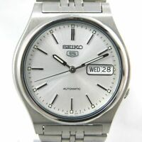 SEIKO 5 FIVE 7S26-3170 AUTOMATIC DAY-DATE SILVER MEN'S VINTAGE WATCH JAPAN