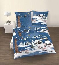 4 tlg Bettwäsche 135x200 cm Winter dunkel blau Fein Biber Baumwolle B-Ware NEU