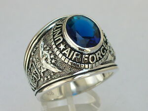 925 Silver United States Air Force Military September Blue Men's Ring Size 7