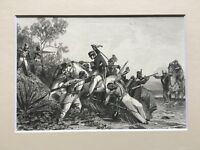 """c.1858 ORIGINAL INDIA LITHOGRAPH PRINT """"FUGITIVE BRITISH OFFICERS AND MUTINEERS"""""""