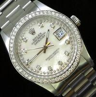 Rolex Mens Datejust Oyster Perpetual String Diamond Dial Diamond Bezel