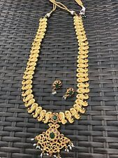 18k on4k Real gold Nakshi Temple Jewellery Haram Long Necklace Earrings Bridal