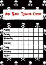 Black & White Skull & Crossbones Pirate Star Sticker Reward Chart