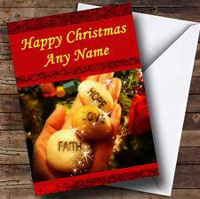Hope Faith Love Christmas Greetings Card Personalised