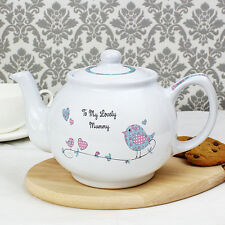 Personalised Birdie Teapot Birthday, Mothers Day Tea Pot Gift Idea for Tea Lover