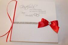 Hardcover Gästebuch zur Hochzeit , weiß - rot