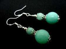 A PAIR OF BLUE JADE BEAD  EARRINGS WITH 925 SOLID SILVER HOOKS. NEW..