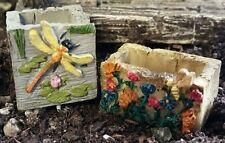 Miniature Planter 2 asst Hummingbird Dragonfly WS 1594 Fairy  Garden Dollhouse