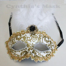 White/Gold Venetian Masquerade Mask w /Feathers BZ632H for Party & Display