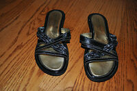 NWOB!! Womens MILA PAOLI Black Leather Sandales Shoes Size 7.5 M MADE IN ITALY!!