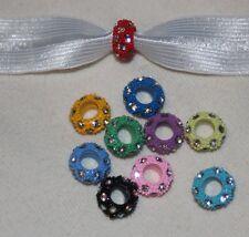 Wholesale lot 60 Rainbow Bridge rhinestone slide charm hair ties bracelet s670