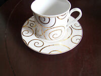 Pier 1 Gold Swirl Coffee / tea cup and saucer Holiday china Porcelain