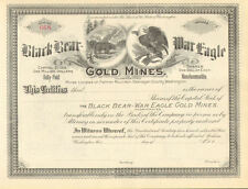 Black Bear War Eagle Gold Mines > Palmer Mountain Okanogan WA stock certificate