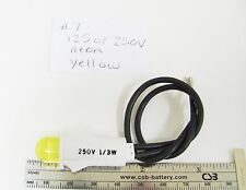 """125V / 250V 1/3W Yellow Neon Panel Mnt Indicator 6"""" Leads 1/2"""" Round Stovepipe"""
