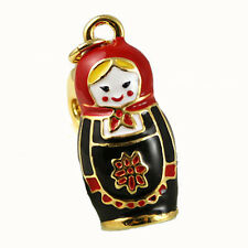 Blonde Russian Doll Matrioshka Gold Black Bracelet Charm Bag Necklace Pendant