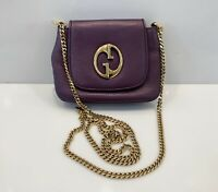 Gucci 1973 Evening Bag Clutch GG logo Chain Leather Shoulder Purple Handbag