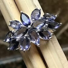 Estate Natural 10ct Iolite {Water Sapphire} 925 Solid Sterling Silver Ring sz 6