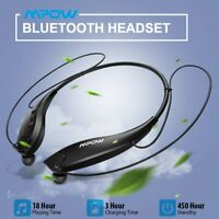 Mpow Wireless Bluetooth 5.0 Headset Neckband Retractable Stereo Headphone Earbud