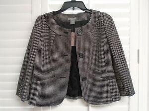 ANN TAYLOR Black Collarless 3-Button Front Career Blazer Jacket Petite Sz 00 NEW