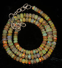 """62 Crts 4 to 6 mm 16"""" Faceted Beads necklace Ethiopian Welo Fire Opal 94595"""