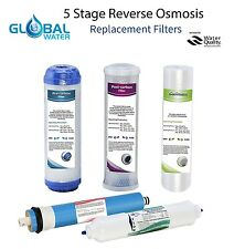 """Reverse Osmosis 5 Stage Universal 10"""" Replacement Filters - ONE YEAR SET"""