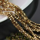 100pcs 3mm Cube Square Faceted Crystal Glass Loose Spacer Beads Gold Plated