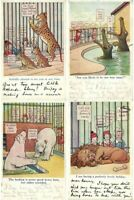 F.C.LEWIN ARTIST SIGNED ANIMALS IN ZOO 7 Vintage Postcards (L2407)