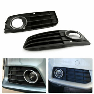 2Pcs Front Fog Light Grill Grille Cover Fit For Audi A4 B8 A4L 2009 2010 2011