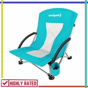 BEACH CHAIR Folding Camping Picnic Barbeque Sporting Event Lawn Cyan By KINGCAMP