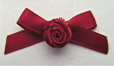 10 RIBBON BOWS with FLOWER  ( Burgundy ).