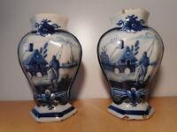 Paire vase ancien faience blanc bleu Pays Bas Delft 18 19 siècle