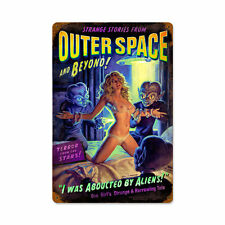 Outer Space Alien Abduction Pin Up Science Fiction Retro Sign Blechschild Schild