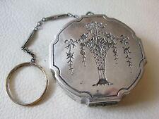 Antique Silver T Floral Flower Basket Bar Chain Finger Ring Dance Compact #2